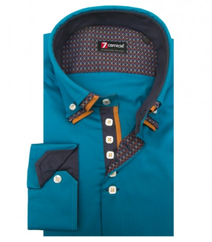 Shirt Vesuvio Satin Seaport Blue