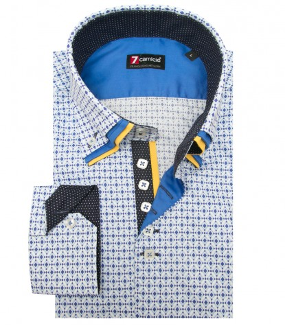 Shirt Vesuvio Cotton WhiteLite Blue
