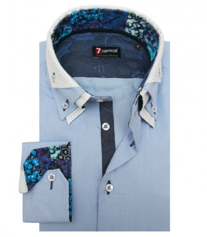 Shirt Vesuvio Weaved Light BlueWhite