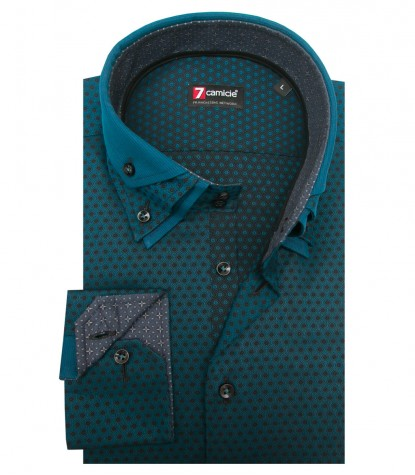 Shirt Vesuvio jacquard Seaport Blue Black