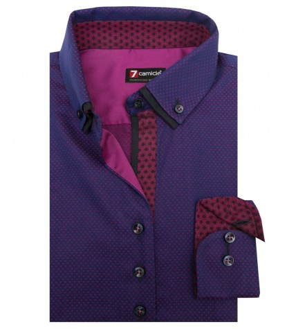 Shirt Linda jacquard Blue Cyclamen Purple