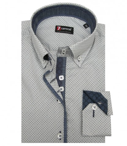 Shirt Sofia Honeycomb fabric Lite GrayBlue