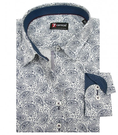Camicia Linda Super oxford Bianco e Blu