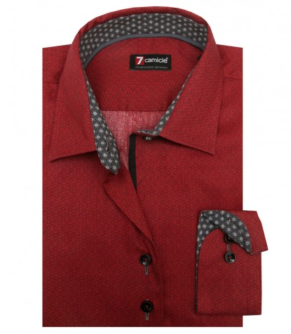 Shirt Linda Super oxford Brick Red and Dark Gray