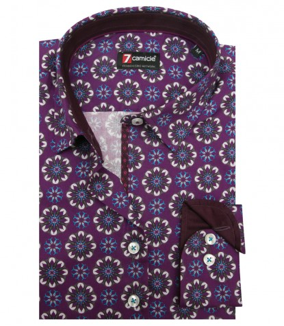 Shirt Linda Super oxford Aubergine and Turquoise
