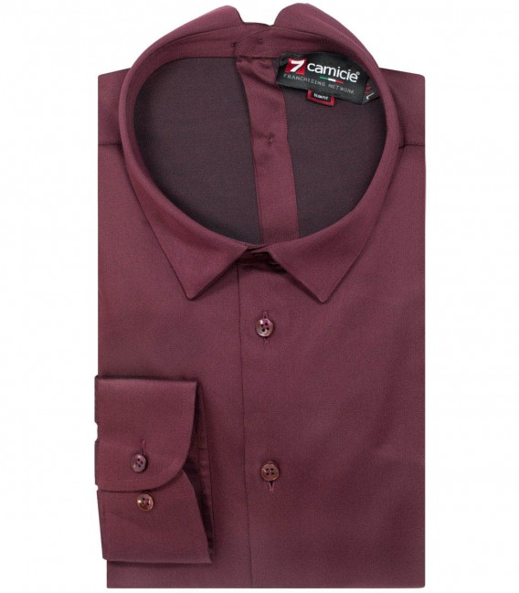 Double buttoning shirt Romeo burgundy