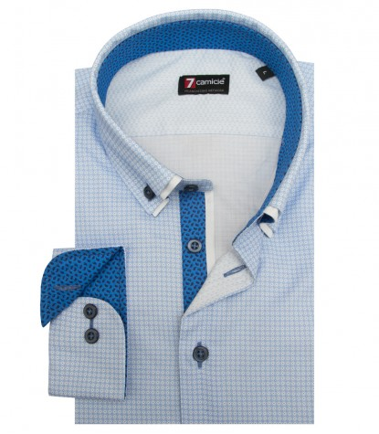 Shirt Leonardo twill WhiteLite Blue