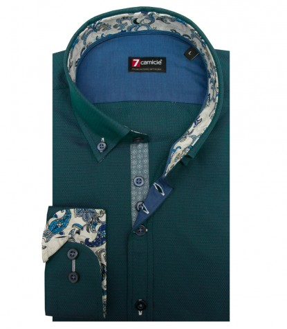Shirt Leonardo jacquard Teal Green and Purple