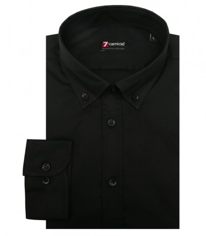 Shirt Leonardo stretch poplin Black
