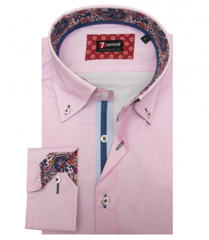Shirt Roma Weaved WhitePink