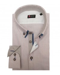 Camicia Leonardo Oxford BIANCO E MARRONE