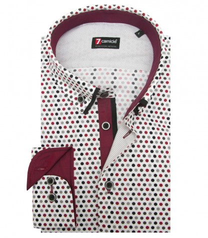 Shirt Leonardo Poplin White and bordeaux