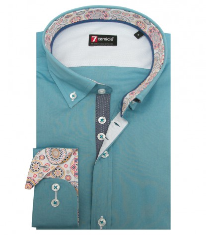 Shirt Leonardo stretch poplin Cadet Light Blue