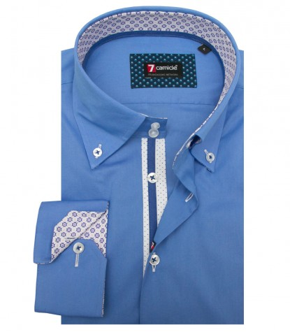 Shirt Roma stretch poplin Medium Blue