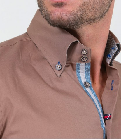 Shirt Roma stretch poplin Dove Brown