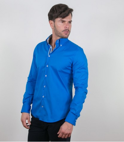Shirt Roma stretch poplin Sky Blue