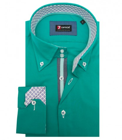Shirt Roma stretch poplin Emerald Green