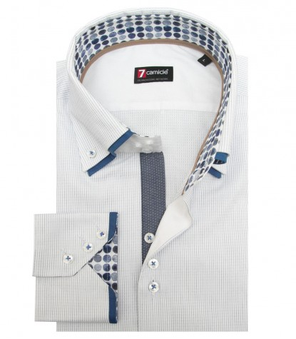 Shirt Colosseo jacquard White and Blue