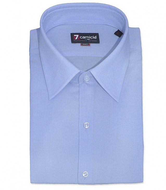 Shirt Romeo Fil a fil Light Blue