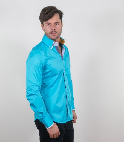 Shirt Colosseo Satin Melange Light Blue