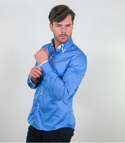 Camicia Colosseo Satin Blu Spectrum