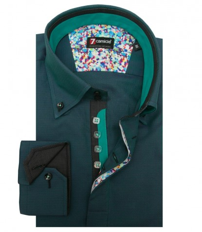 Shirt Roma jacquard Teal Green and Purple