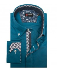 Camicia Roma Satin Blu Seaport