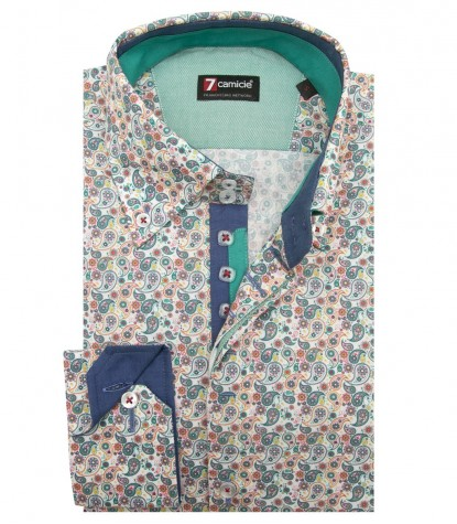Shirt Roma Poplin white and Emerald