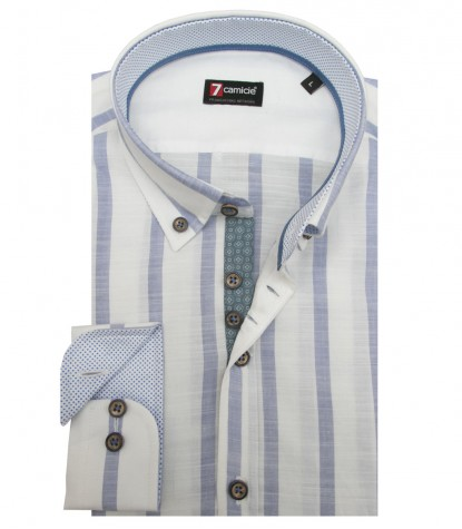 Shirt Men stripe large WhiteLite Blue