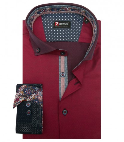 Shirt Leonardo Poplin Red and Blue