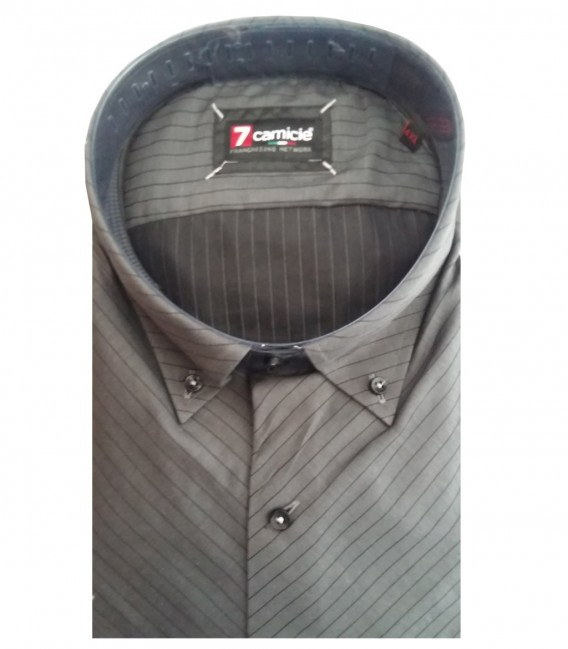 Shirt Roma Satin Dark GreyBlack