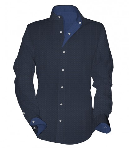 Shirt Men long sleeve 1 Button Slim fantasy BlueBluette