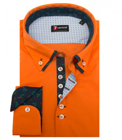 Camicia Donatello Popeline stretch arancio