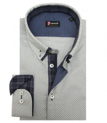 Shirt Leonardo Honeycomb fabric Lite GrayBlue