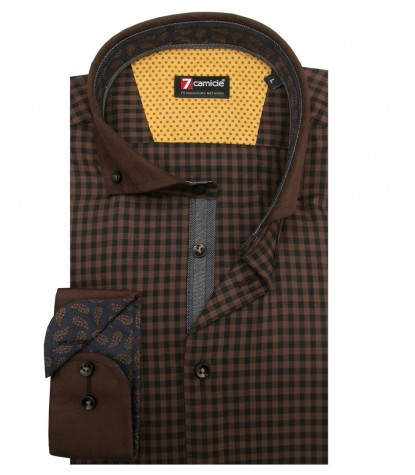 Camicia Leonardo Super oxford Marrone Nero
