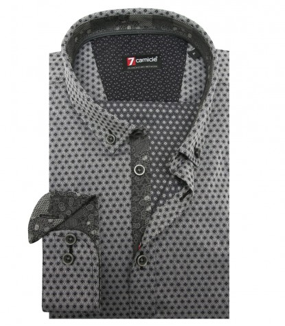 Shirt Leonardo jacquard Light GreyBlack