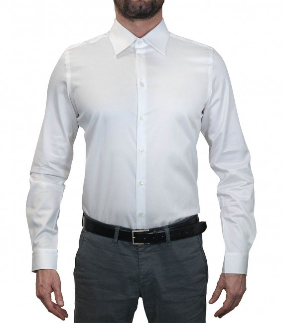 Shirt Men Long sleeve shirt 1 Button slim satin full color White