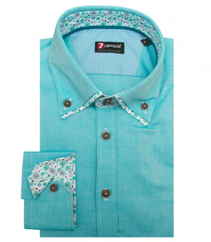 Chemises Marco Polo Oxford turquoise clair