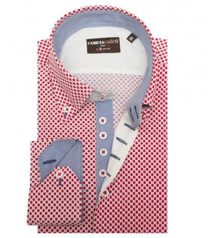 Shirt Roma Cotton Polyester WhiteRed
