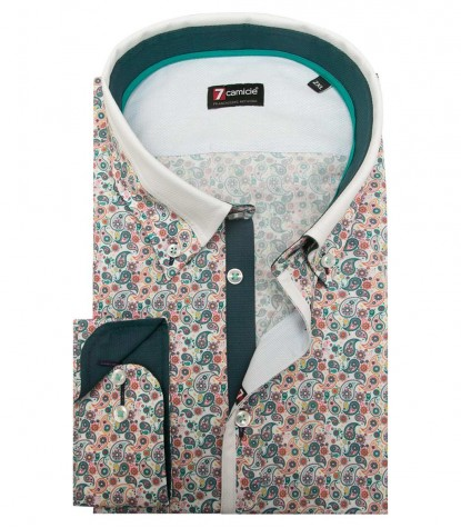 Shirt Leonardo Poplin white and Emerald