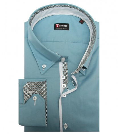 Shirt Roma stretch poplin Cadet Light Blue