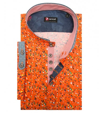 Shirt Caravaggio Poplin Orange and Leaf Green