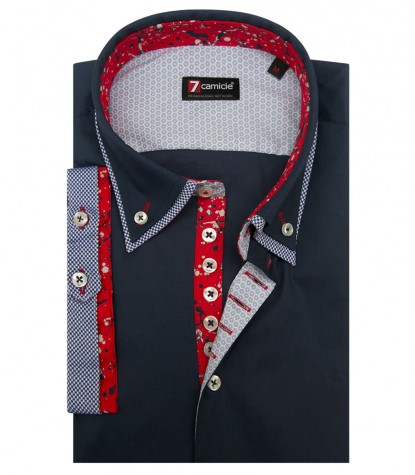 Shirt Donatello stretch poplin Dark Blue