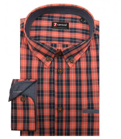 Shirt Leonardo Super oxford Dark Blue and Light Orange