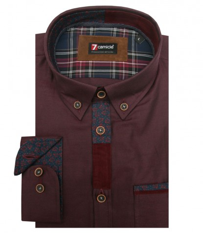 Camicia Leonardo Oxford Bordeaux