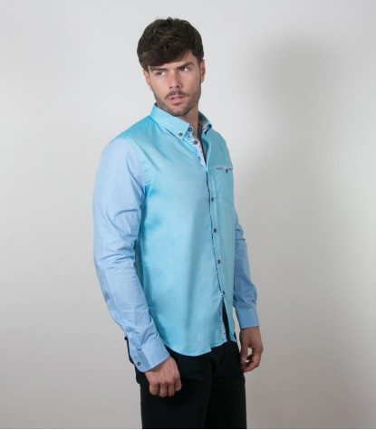 Shirt Leonardo Oxford Melange Light Blue