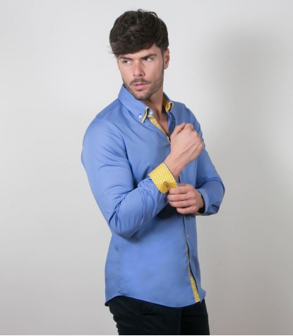 Camicia Donatello Popeline stretch Blu Inchiostro