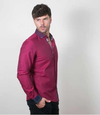 Shirt Leonardo jacquard Light Bordeaux and Bordeaux