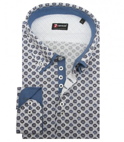 Shirt Donatello Cotton White Light Blue