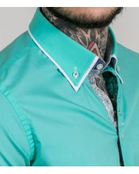 Camicia Donatello Popeline stretch Verde Acqua